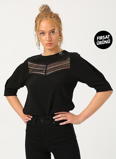 Random Kadın Dantel Detaylı Yuvarlak Yaka Bluz Siyah